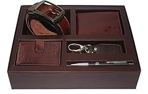 Leather Junction Brown Combo Set With Wallet, Card Holder, Belt