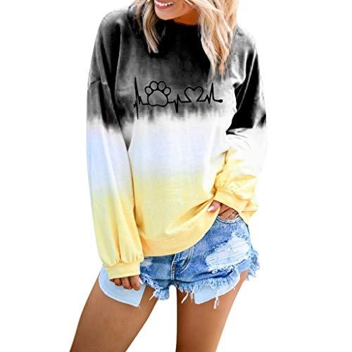 DIPOLA Damen Oberteile Langärmliges T-Shirt mit Farbverlauf Lässiges Rundhalsausschnitt Shirt Sweatshirt Runder Kragen mit Buchstaben Pullover Schwarz Rosa Bule Lila Rot Khaki Grün Gelb