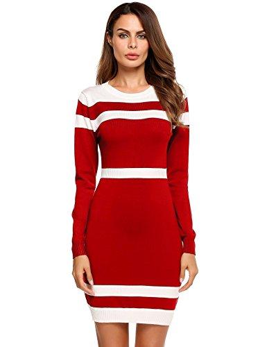 Caeasar Langarm-Kleid Bleistift High-Waist Knielang Kontrastfarbe Pullover Paket Hip Strickware beiläufige unterkleider , farbe - Rot , Gr. M