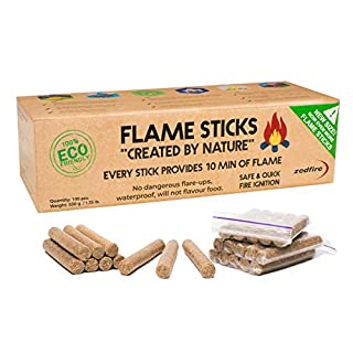 Natural Firelighters for Wood Burners - Eco Fire Lighters for Barbecues, Stoves and Fire Pits - Fire Starters for Campfires, Log Burners and Fireplace - BBQ Charcoal Chimney Starter (100-count)