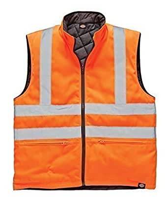 Mens Dickies Recovery Reversible Bodywarmer Gilet Auto Repair Garage Rail Railway Hi Vis EN471 Pocketed Bodywarmer Waistcoat Diamond Quilted For Warmth Internal Pockets Two Lower Zip Pockets Full Zip Warm Branded Suitable For Many Uses Workwear Recovery Outerwear Walking SA7002 Orange M,L,XL,XXL,3XL (Large, Orange)
