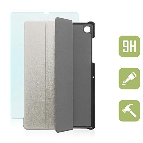 Smarte Hülle mit weichem Inlay und Standfunktion für Samsung Galaxy Tab S5e 10.5 inkl. Panzerfolie aus Glas Silber mit automatischer Sleep- und Wake-Up-Funktion [für Modell SM-T720, SM-T725] -