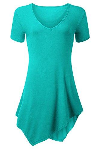 YMING Damen Oberteil Kurzarm Asymmetrisch Bluse Lose T-Shirt Kleid V-Ausschnitt Casual Tunika Tops,Türkis,M (Königsblau Rüschen Und Strass)