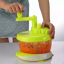 EKRON Manual Multi-functional Machine Stainless Steel bladed Vegetable Cutter/Chopper/Mini Blender for vegetables, Lime