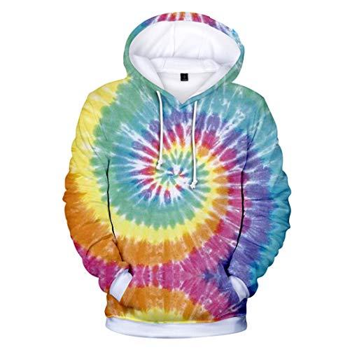 HKPNCDAQ Männer/Frauen Bunt Tie Dye Hoodies Sweatshirt Lässig Magic Swirl Muster 3D Sweat Tops Crewneck Hoondie Herbst Winter Sky Blue XL (Blue Sky Tie-dye)