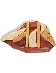 Beltiscool adulto hecho a mano de madera vela forma secreto joyas caja de Puzzle–Buque uno tamaño natural