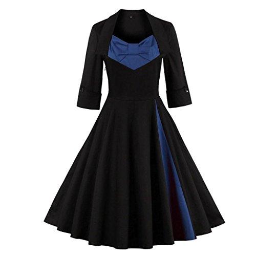 Kleider , Frashing Elegant Damen Kleider Spitzenkleid Cocktailkleid Knielanges Vintage 50er Jahr hochzeit Party S~5XL (5XL, Blau) (Mädchen Aus Mit Drees)