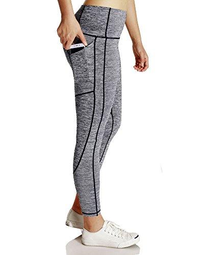 Femme Pantalon de Sport Impression 3D Hanche Legging Flexible Fitness Yoga Jogging Skinny Sechage Rapide Pantalon de Crayon B Gris