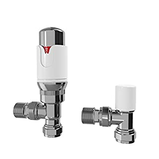 iBathUK White Thermostatic Angled Towel Radiator Valves 15mm Central Heating Tap RA33A