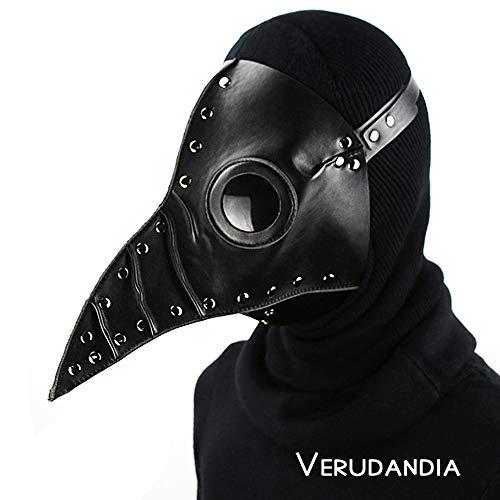 (Verudandia Halloween Cosplay Pest Arzt Maske, Steampunk Party Kostüm Requisiten Doktor Schnabel Long Bird Schnabel Maske,Black)