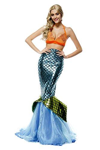 Costume da sirena, da donna, con top a reggiseno e gonna lunga, per Halloween e feste in maschera Blue Taglia unica