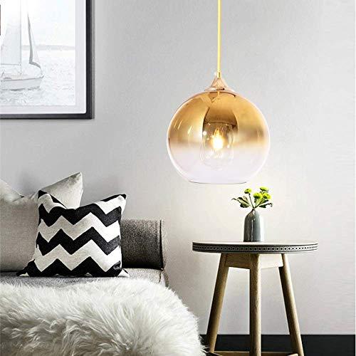 WEWE.V Glas Anhänger Beleuchtung Farbverlauf Lampenschirm, Bunte Glaskugel Licht Schatten E27 Pendelleuchte -