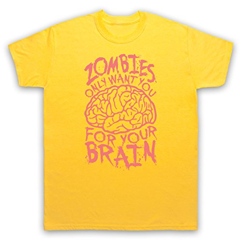 Zombies Only Want You For Your Brain Funny Slogan Herren T-Shirt Gelb