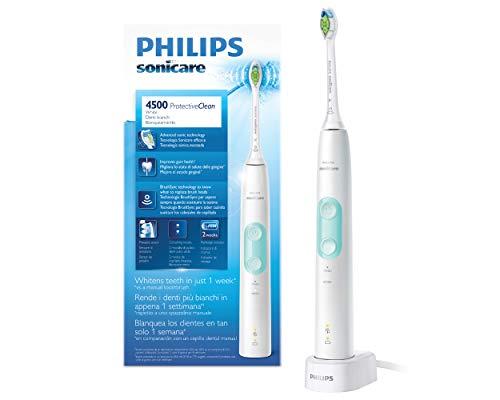 Philips sonicare hx6837/24 protectiveclean 4500, spazzolino elettrico con tecnologia sonicare, 2 programmi d pulizia, bianco