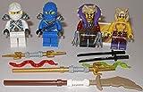 Lego Ninjago Figuren 4er Set Figuren Weisser Ninja Zane Blauer Ninja Jay Krait und Meister Chen und bmg2000 Aufkleber