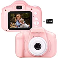 le-idea Fotocamera per Bambini, Bambini Fotocamera Digitale Portatile Selfie Videocamera 1080P HD / Doppia Fotocamera da 12 MP / IPS Screen da 2 Pollici / Scheda TF 32G Inclusa (Rosa)