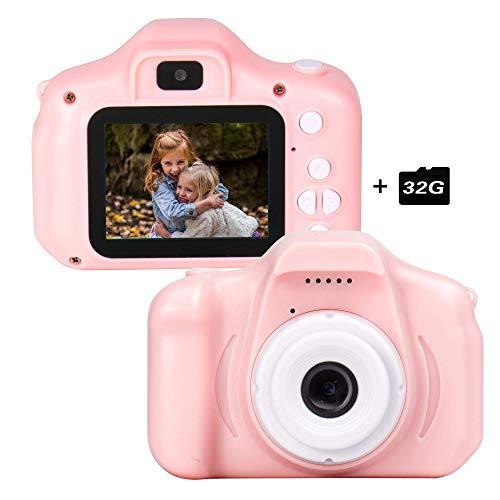 le-idea Cámara para niños Cámara de Fotos Digital 2 Objetivos Selfie 12MP Cámara1080P HD Video cámaras para Niños Niñas con Zoom Digital 4X con Tarjeta de 32GB TF, Rosa【El Idioma ha Sido actualizado】
