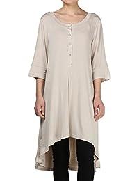 Vogstyle Damen V-Ausschnitt Casual Tunika T-Shirt Tee Mini Kleid