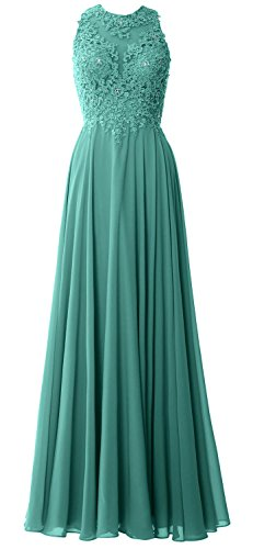 MACloth Elegant High Neck Long Prom Dress Lace Chiffon Formal Party Evening Gown Oasis