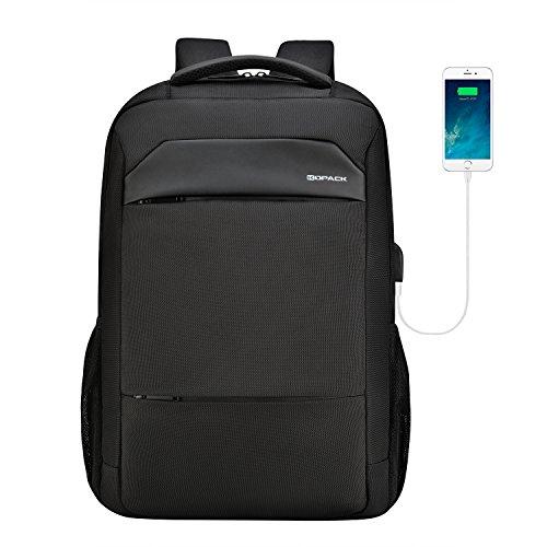 KOPACK Laptop Rucksack Herren Damen mit 15.6 Zoll Laptopfach und USB Ladeanschluss Uni Schulrucksack Slim Business Backpack für Travel Arbeit Schule Uni Reisen Schwarz