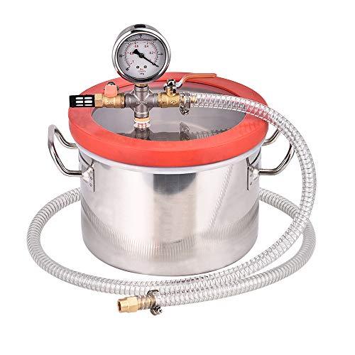 TOPQSC 1,5 Gallonen (6,8) Liter Rostfreier Stahl Vakuumkammer Kit mit 3 CFM Einstufiger Vakuumpumpe HVAC -