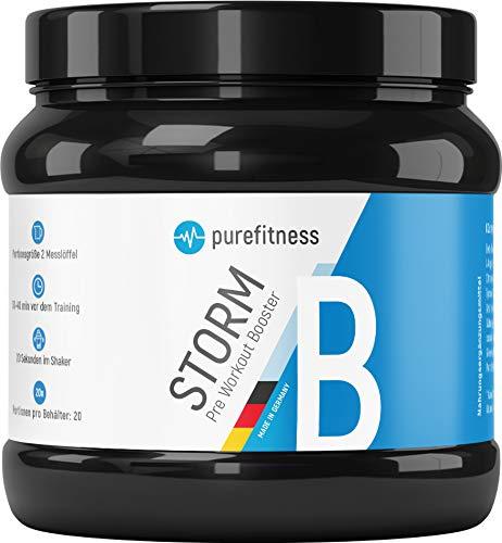 HOCHDOSIERT: Cleaner Pre Workout Booster STORM ohne Chemiekeule mit Cola Geschmack & Aminosäuren I Ohne Kreatin I Vegan I 300g