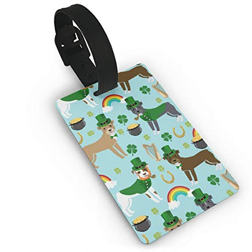 Pitbull Leprechaun - St Pattys Day St. Patricks Day Dog Design -Blue Travel Luggage Tags Name ID Identification Labels Set for Bags Baggage Suitcases Thick PVC Wristband (Tag Hats Pattys St)