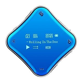 MP3 Player COOSA 0.96 Zoll Bildschirm Galvanisiert Spielgelfläche player clip Hi-Fi Sound 360 ° frei drehbar Musik Player Tragbare mini clip mp3 mit FM Radio Wiedergabe Aufnahme Ebook ect. Funktion Sport Clip (Blau)