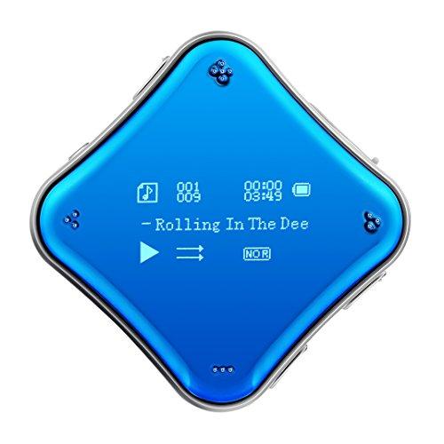 COOSA MP3 Player 0.96 Zoll Bildschirm Galvanisiert Spielgelfläche Mini Sport Player Clip MP3 Hi-Fi 360° frei drehbar Tragbare Musik Player mit FM Radio Wiedergabe Aufnahme Ebook ect. Funktion(Blau)
