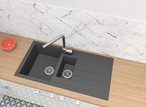 respekta Spüle Küchenspüle Einbauspüle Granit Spülbecken Mineralite 100x50 grau