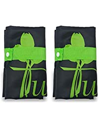 Tuelip Folding Shopping Bag Polyester Material Black Color For Regular Use Carry Bag/Hand Bag Set Of 2