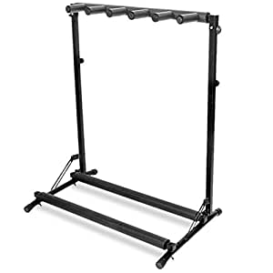 gorilla 5 way multi guitar stand foldable acoustic electric bass guitar rack. Black Bedroom Furniture Sets. Home Design Ideas