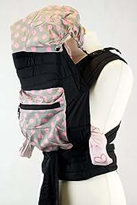 Palm and Pond Mei Tai fascia portabebè con cappuccio e tasca - Grigio con pois rosa