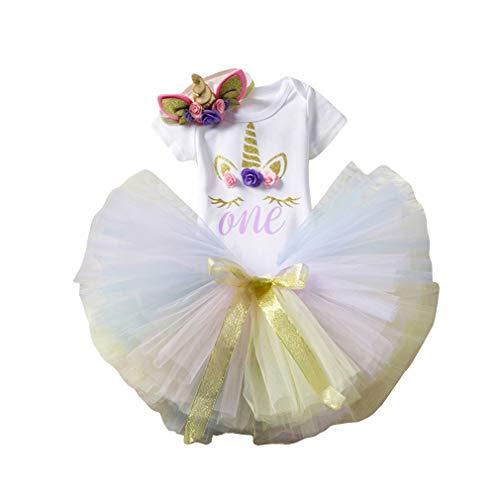 Kangcheng Neugeborenes Baby Kleid 1. Geburtstag Prinzessin Kleid für Geburtstagsparty Einhorn Glänzend bedruckt Romper Anzug Pailletten Kleid mit Stirnband Kleinkind Kleinkind Kinder 3PCS Kostüm Set