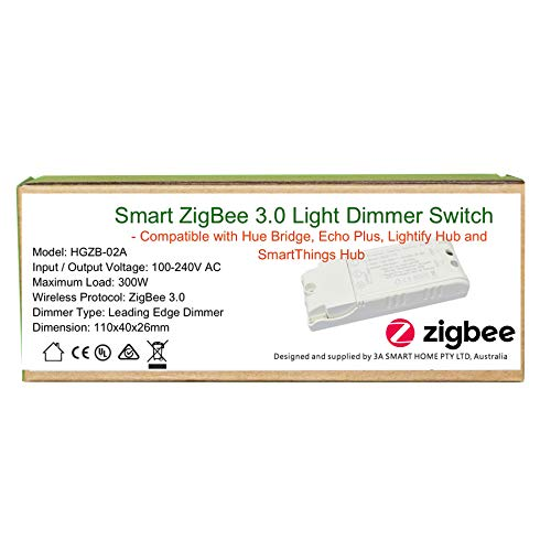 Smart ZigBee Light Dimmer Switch per Echo Plus e compatibile ZigBee Bridge Hub per il controllo di luci normali, downlight a LED Smart Home Automation