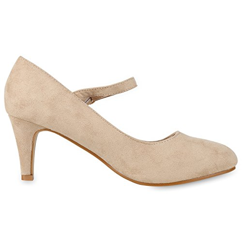 Damen Pumps Mary Janes Blockabsatz High Heels T-Strap Creme Velours