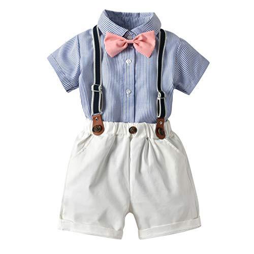 Julhold Kleinkind Jungenmode Einfache Gentleman Anzüge Kurzarm Baumwollhemd Hosenträger Shorts Outfit Set 0-5 Jahre