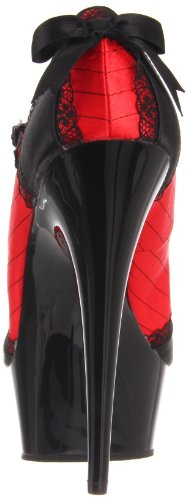 Pleaser DELIGHT-679 Damen Mary Janes Red-Blk Satin/Blk