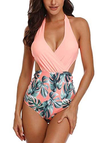 Summer Mae Damen Badeanzug V-Ausschnitt Monokini Neckholder Rückenfrei Einteiliger Bademode Bedruckt Sexy Cutouts Bauchweg Bikini Orange L