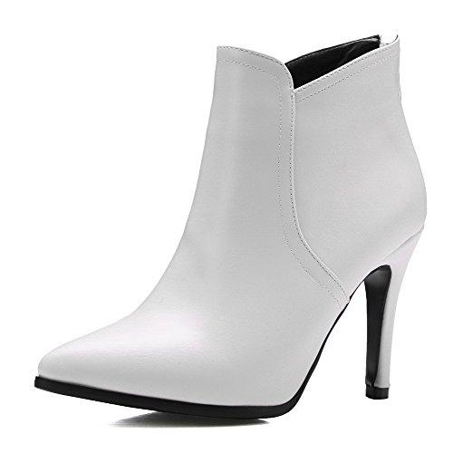 Hohe Stiletto Pu Weiß Rücken Damen Leder Knöchel Voguezone009 Stiefel xY5IqRW