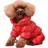 caidi Abrigo de Invierno cálido Chaqueta Acolchada Ropa para Cachorro Perro pequeño, Color Rojo XXL