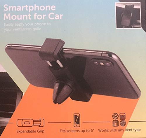 Bovon Porta Cellulare da Auto, Supporto Auto Smartphone Rotazione di 360 con 2 Clips per Bocchette dell'Aria per Smartphone o Dispositivi Elettronici di Larghezza da 5,7 a 8,5 cm