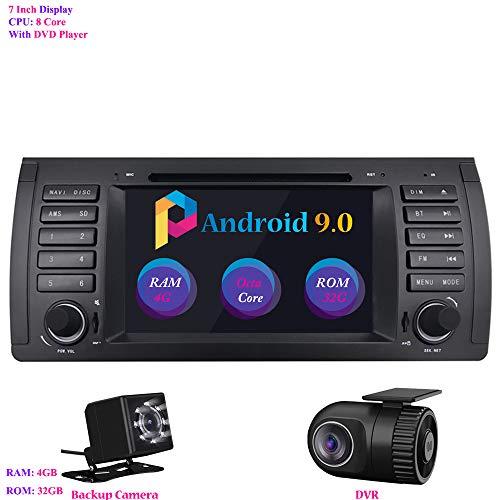 "Android 9.0 Autoradio, Hi-azul In-Dash Car Radio 7"" Car Stereo 8-Core RAM 4G ROM 32G GPS Navigation Moniciver Navi Car Audio mit CD/DVD-Player für BMW 5-E39/BMW X5-E53 (mit Rückfahrkamera und DVR)"