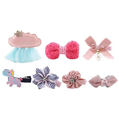 7 Stücke Hunde Schleifen Verschiedene Farben und Muster Hundeschmuck Haarschleifen Haustier Hunde Haarspange für Haustier Hunde Katze Welpen (Pink)