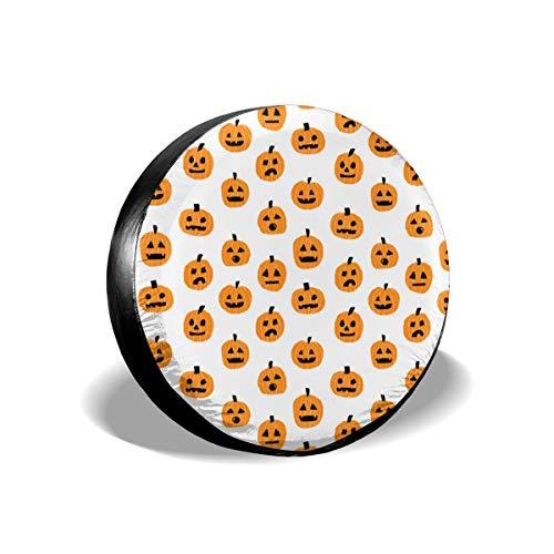Sula-Lit Auto-Reifen- und Radabdeckung, Kürbis-Halloween, süße Jack O-Laterne, weiß, orange, Ersatz-Radabdeckung, passend für Jeep Camper RV SUV LKW Radschützer Zubehör 35,6 cm (Jack-o-laternen Halloween Coole)