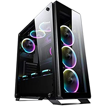 Sahara P35 Black Tempered Glass Mid Tower Pc Gaming Case With 4 X Turbo Pirate 12cm True Rgb Case Fans