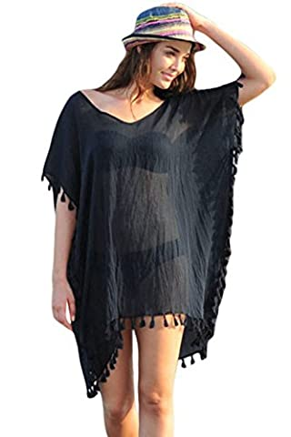 Yiyada Women Colorful Tassels Crochet Pom Pom Tassel Hem Gauze Pareos dresses Sarongze Beach Kaftan Swimsuit Cover- (L, Black)