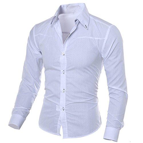 Xmiral Herren Hemden Tops Plaid Printed Bluse Lässige Langarm Slim Shirt Gentleman Arbeitskleidung(S,Weiß) -
