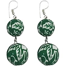 I was a Sari Beads Collection Green & White Bead Earring for Women