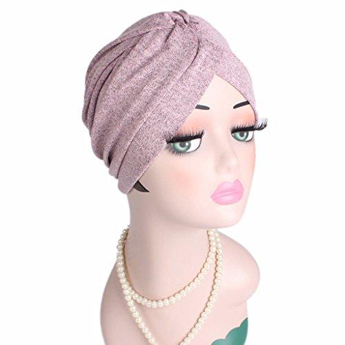 Misright Frauen muslimische Kopftuch Indische Turban-Hüte Turbanmütze Kopfbedeckung Schlafmütze für Haarverlust, Chemo, Krebs Cap Chemotherapie (rosa)